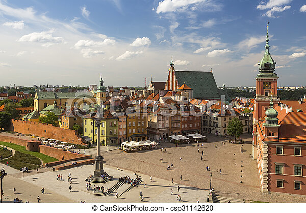 Top view of Old town in Warsaw - csp31142620