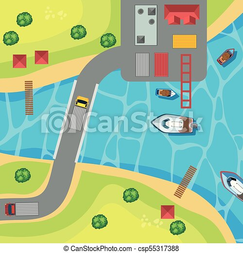 Top view of park with boats on the lake - csp55317388