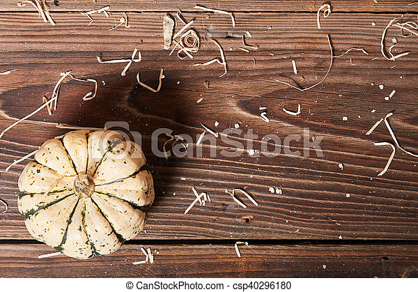 Top view of pumpkin on a wooden table - csp40296180