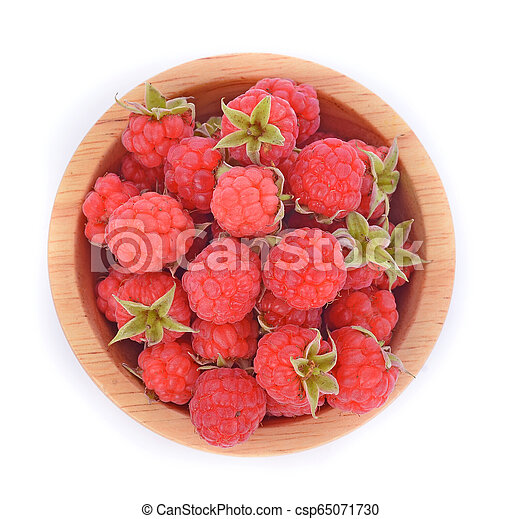 Top view of Raspberries in wooden bowl isolated on white background - csp65071730