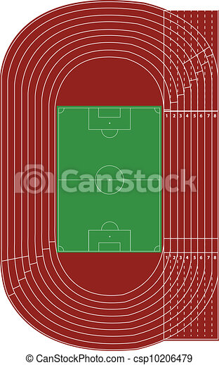 top view of running track and soccer field on white. Black Bedroom Furniture Sets. Home Design Ideas