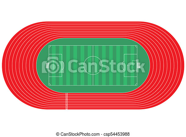 top view of running track and soccer field on white stock rh canstockphoto com running race track clipart female running track clipart