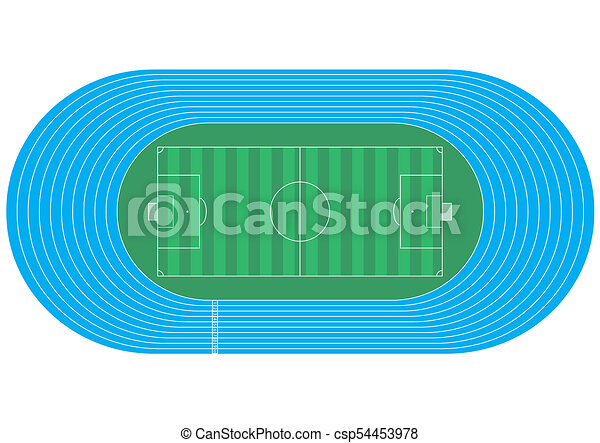 top view of running track and soccer field on white stock rh canstockphoto com running race track clipart running track clip art free