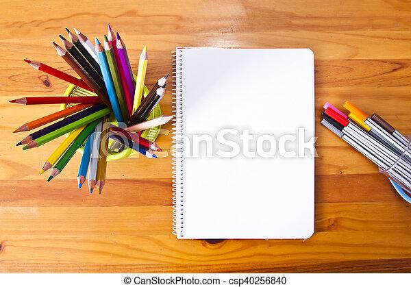 Top View Of School Desk   Csp40256840