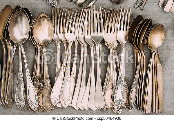 Top View Of Set Retro, Old, Vintage Cutlery Spoons And Forks On - csp50464930
