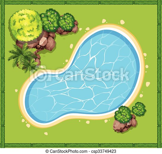 Top View Of Swimming Pool In The Garden Illustration