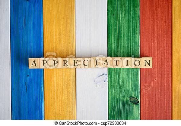 Top view of the word Appreciation spelled on wooden cubes - csp72300634
