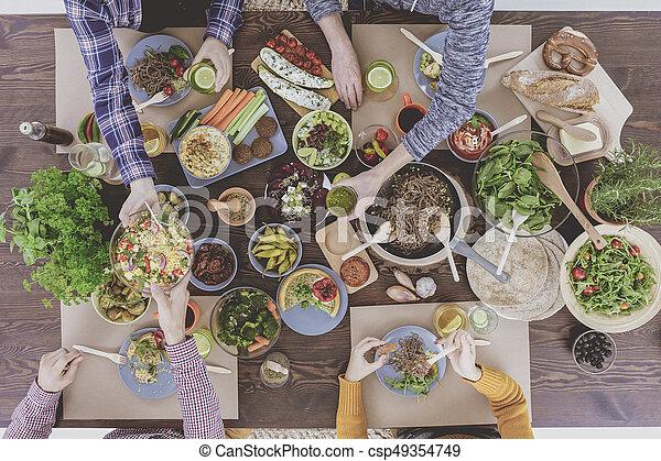 Top view of vegetarian brunch - csp49354749