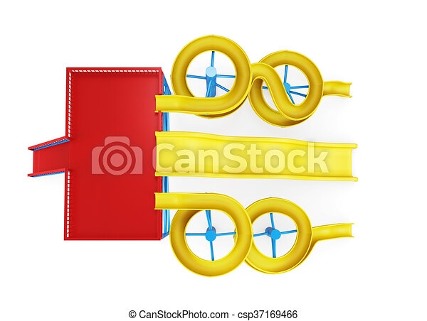 top view of water slide isolated on a white background 3d stock rh canstockphoto com water slide clip art totally free water slide clip art images