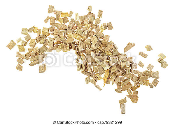Top view of wood smoking chips isolated on a white background - csp79321299