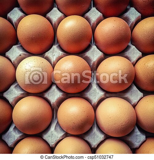 Top view on a tray of eggs - csp51032747