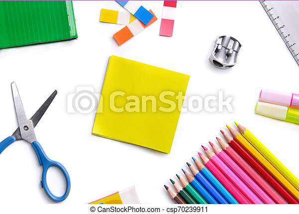 top view on colorful school supplies on white background - csp70239911