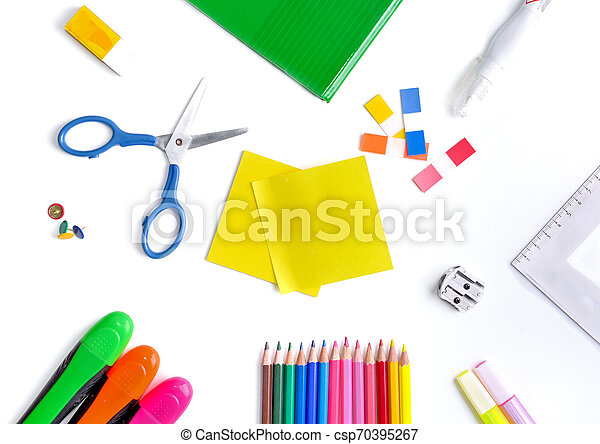top view on colorful school supplies on white background - csp70395267