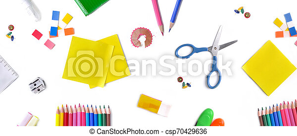 top view on group of colorful school supplies on white background - csp70429636