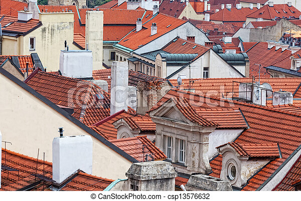 top view on tile red roofs, Prague - csp13576632