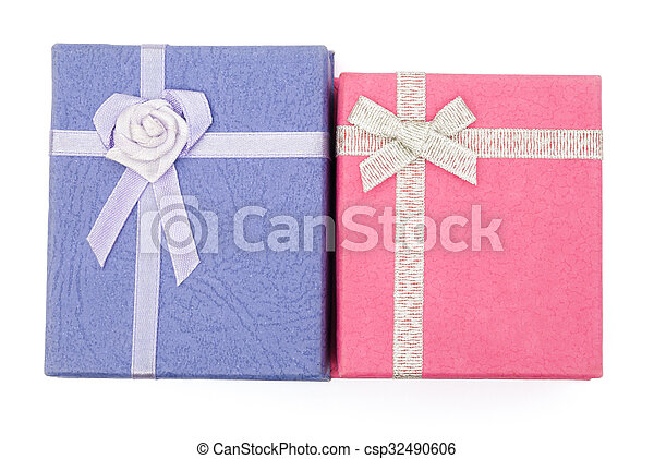 top view purple and pink gift boxes - csp32490606