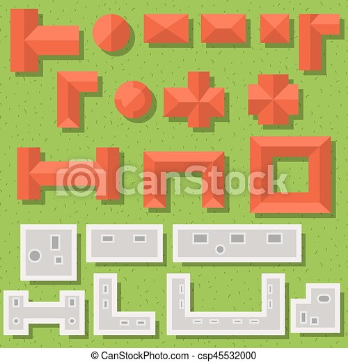 Top View Red Roofs And Gray Rooftops Vector Set Flat