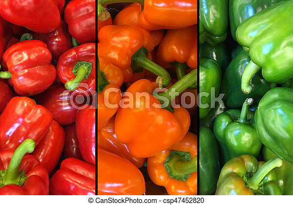 Top view red, yellow and green bell peppers in a pile - csp47452820