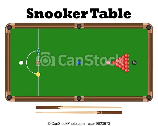 Top view snooker ball on snooker table vector vectors illustration ...