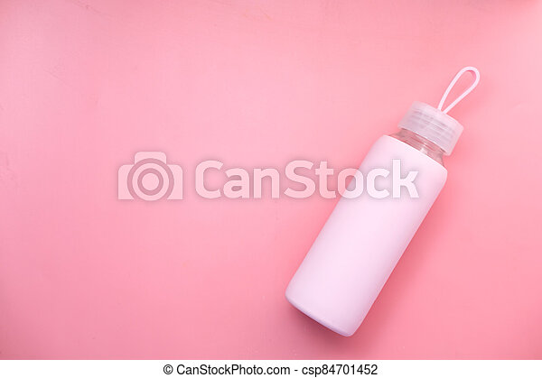 top view sport bottle isolated on pink background - csp84701452