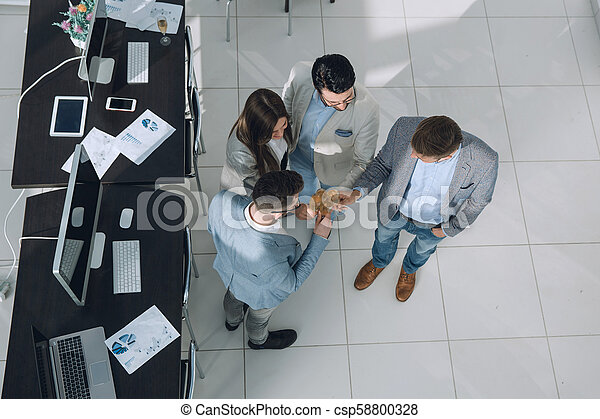 top view. the business team celebrates a successful startup - csp58800328