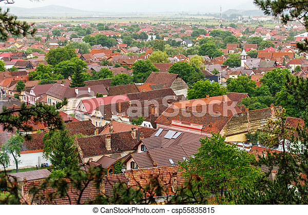Top view to red tile roofs city. - csp55835815