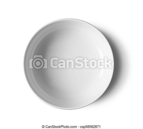 top view white bowl on white background - csp58562871