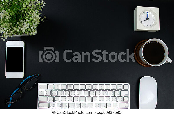 Top view with copy space.Working desk table concept. - csp80937595