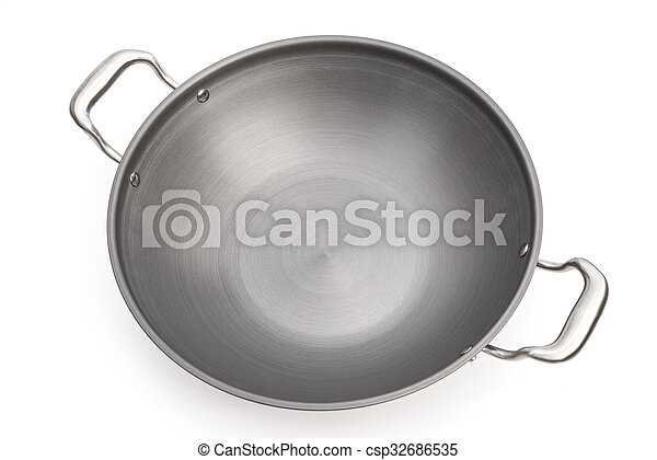 top view wok on white background - csp32686535