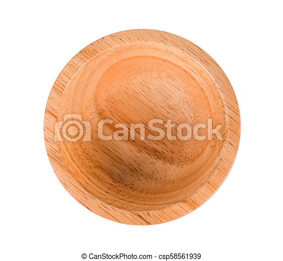 top view wood bowl on white background - csp58561939