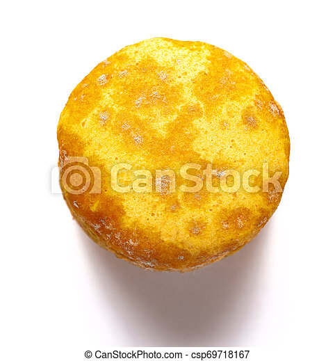 top view yellow moldy macaroon on a white background - csp69718167