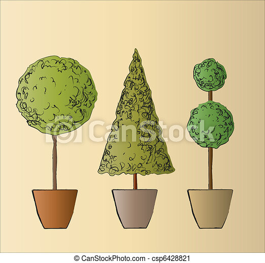 Topiary A Vector Illustration Of Three Standard Trees