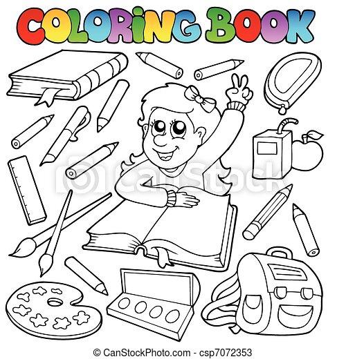 topic, 1, escola, tinja livro - csp7072353