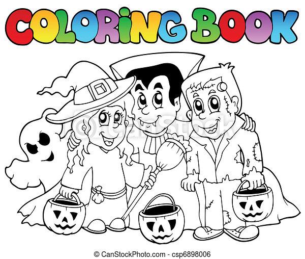 Topic, 3, färbung, halloween, buch. Färbung, illustration ...