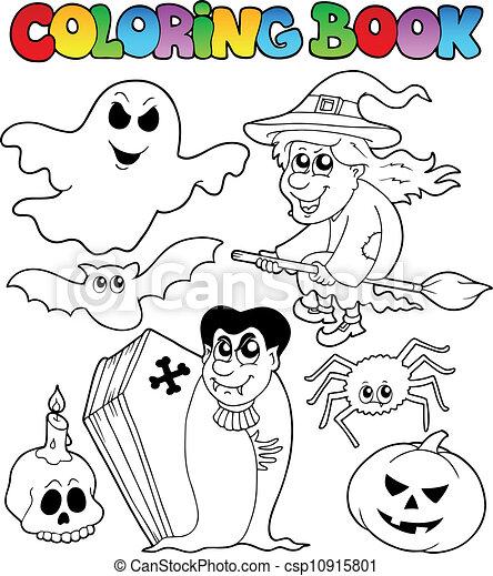 Topic, färbung, halloween, buch, 7. Färbung, illustration ...