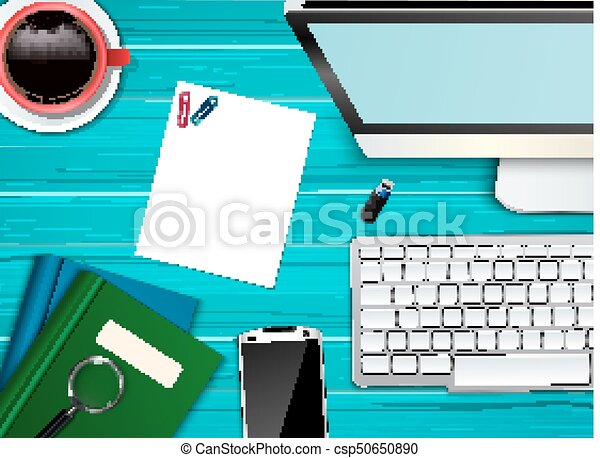 topo, escritório, local trabalho, fundo, vista - csp50650890