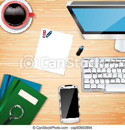 topo, escritório, local trabalho, fundo, vista - csp50650894