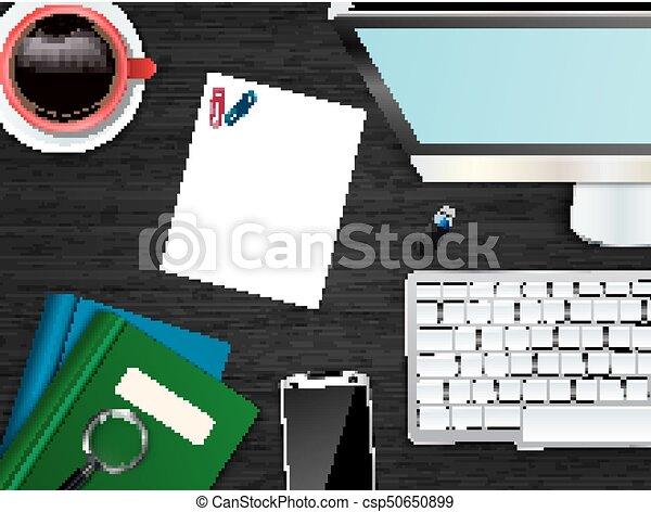 topo, escritório, local trabalho, fundo, vista - csp50650899