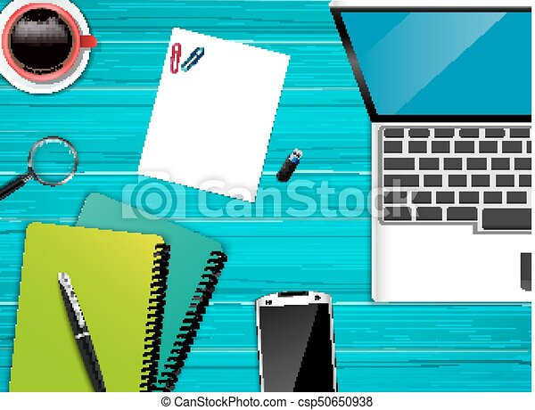 topo, escritório, local trabalho, fundo, vista - csp50650938