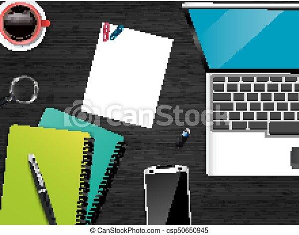 topo, escritório, local trabalho, fundo, vista - csp50650945