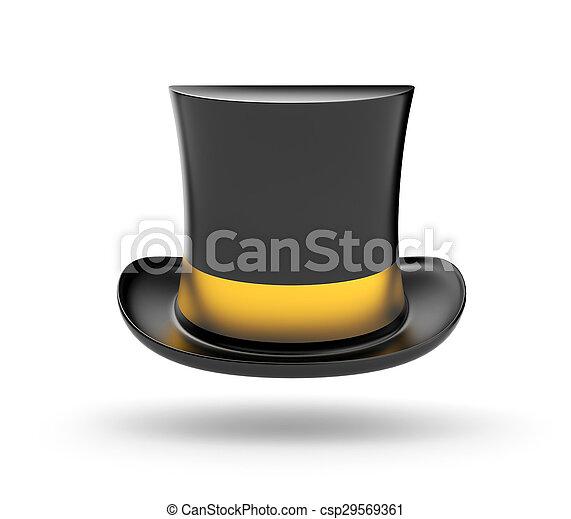 topo preto, chapéu, listra, ouro - csp29569361
