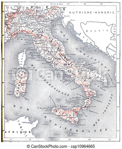 Modern Map Of Italy.Topographical Map Of Modern Italy Vintage Engraving