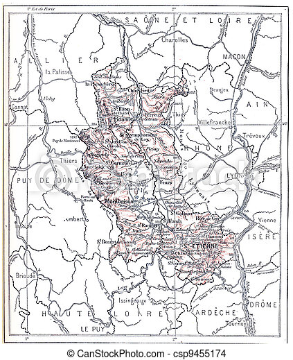 Topographical Map of the Administrative Department of Loire in Rhone-Alpes, France, vintage engraved illustration. Dictionary of Words and Things - Larive and Fleury - 1895 - csp9455174