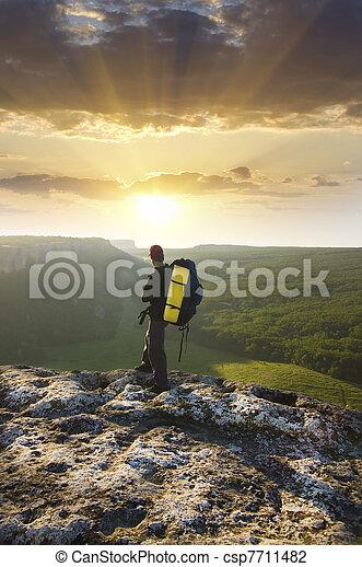topp, mountain., man - csp7711482
