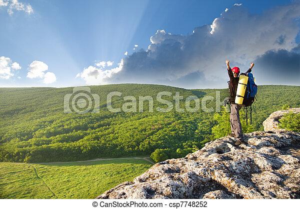 topp, mountain., man - csp7748252