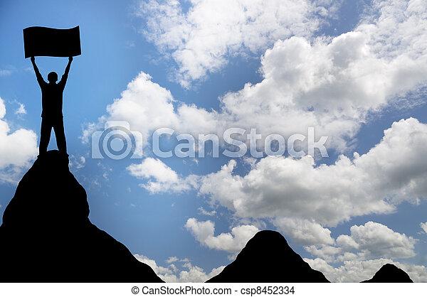topp, mountain., man - csp8452334