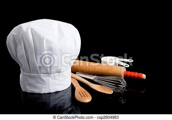 toque with cooking utensils - csp2604983