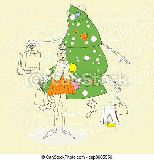 torba, kobieta shopping - csp8085550
