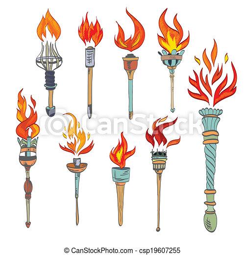 Torch Icon Sketch Vector