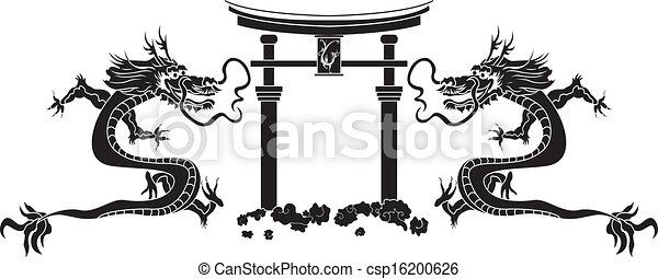 Torii y dragones asiáticos - csp16200626